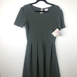 NEW! LuLaRoe Amelia Dress Gray Olive Size Large